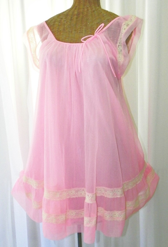 Vintage Pink Chiffon Baby Doll Short Nightgown Ruffled