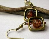 Brown Crackle Frame Earrings, Vintage Inspired Earrings, Bronze