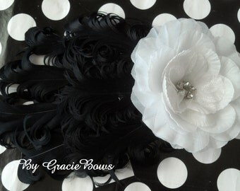 Black and White Nagorie Feather Headband