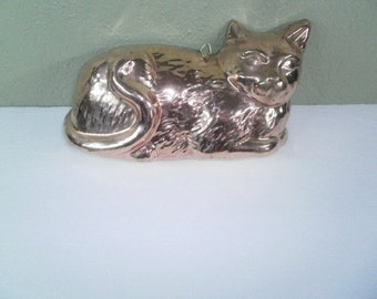 Vintage Copper Cat Mold, ODI Solid Copper Cat Mold, Home Decor, Kitschy Wall Decor, Wall Hanging, Kitchen Decor