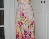 60s 70s Dress, Maxi, Mod, Print, Keyloun, Polished Cotton, Festival, Boho, Psychedelic, Size M/L