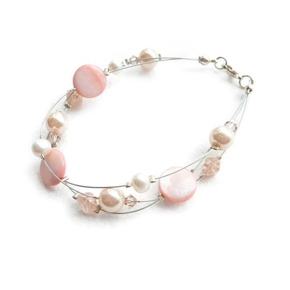 Peach Floating Pearl Bracelet - Bridesmaid Jewelry - Blush and Ivory Floating Pearl Bracelet - Salmon Pink Bridesmaids Gift - Rosaline