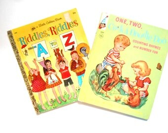 Two Vintage Children's Books, One, Two, Cock-A-Doodle-Doo and Riddles, Riddles From A to Z