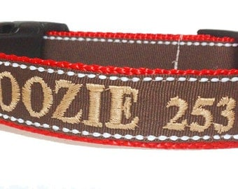 One Inch Wide Chocolate Brown Personalized Dog Collar