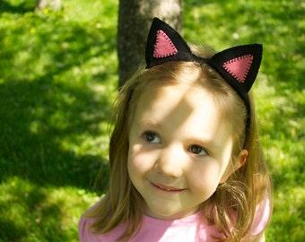 Wool Felt Black & Pink Cat Plush Ears Headband