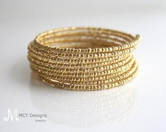 Gold, beaded, wrap, bracelet - 10 layer gold wrap bracelet