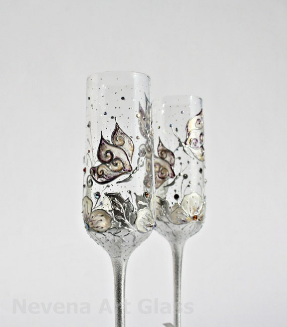 Wedding Glasses Butterfly and Flowers Vanilla Purple Champagne Flutes Hand Painted and decorated with Swarovski Crystals  Set of 2