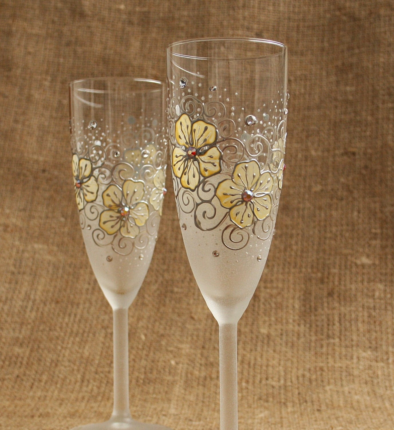 Hand painted champagne wine glasses flutes vanilla and white for Hand designed wine glasses