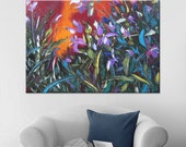 Wild orchids - art floral painting wall decor home decor wall hanging wall art blue canvas original painting impasto oil ready hang textured