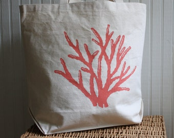 Coral Tote Bag Hand Screened