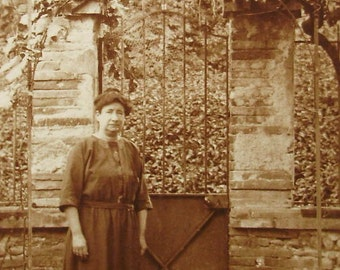 French Real Photo Postcard (RPPC) - Old Lady at the Gate
