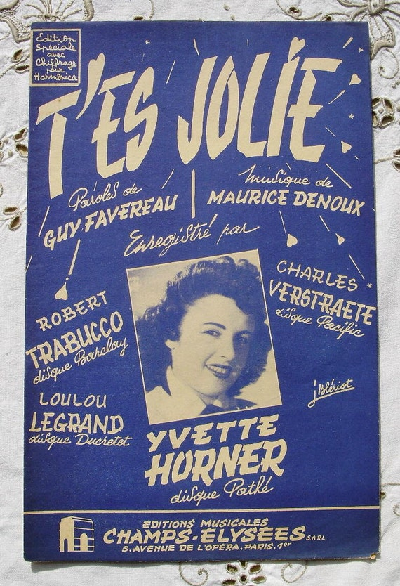 Vintage French 1950's Song / Sheet Music  - You're Pretty (T'es Jolie, Yvette Horner)