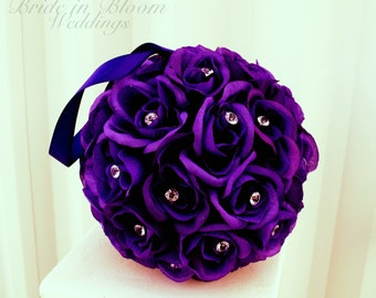 Wedding flower balls flower girl pomander purple bouquet kissing ball wedding decoration