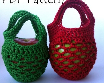 US Terms Mini Crochet Gift Bag Apple Cozy PDF Pattern