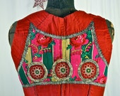 Czech Folk Vest Moravian Antique Embroidered Folk Costume Red, Pink, Green Floral Discs 1930's