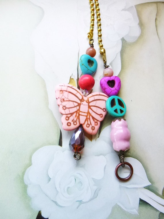 Pink Butterfly Light/ Fan Pull Chain Unique Light Pull