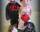 Wedding Cake Topper, Custom Bride and Groom with Two Pets, Personalized Topper, Polymer Clay Wedding or Anniversary Keepsake