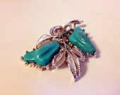vintage brooch large and lovely faux turquoise silver colored metal big pin retro jewelry