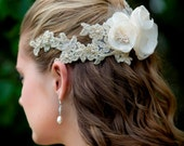 Bridal Flower Lace Hairpiece. Floral Lace Beaded Headband