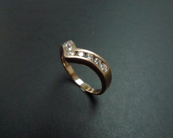 Wedding Diamond Ring 14K Rose Gold, Diamond Band, Diamond Wedding Ring, Diamond Engagement Ring, Diamond Band, Rose Gold Ring, Classic Ring