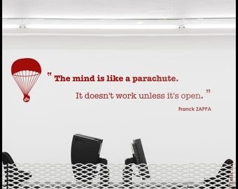 """ZAPPA Quote - WALL DECAL :   """"Mind is like a Parachute"""" quotation decal, vinyl, decor, smart words sticker, Franck Zappa"""
