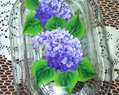 Large Glass Butter Dish with Hand Painted Lilacs
