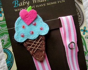 Girl Pacifier Clip, Ice Cream Cone Pacifier Clip, Pink Ice Cream Pacifier Holder, pccone01