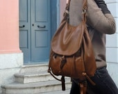 Handmade leather backpack, named Daphne in Tabac color MADE TO ORDER