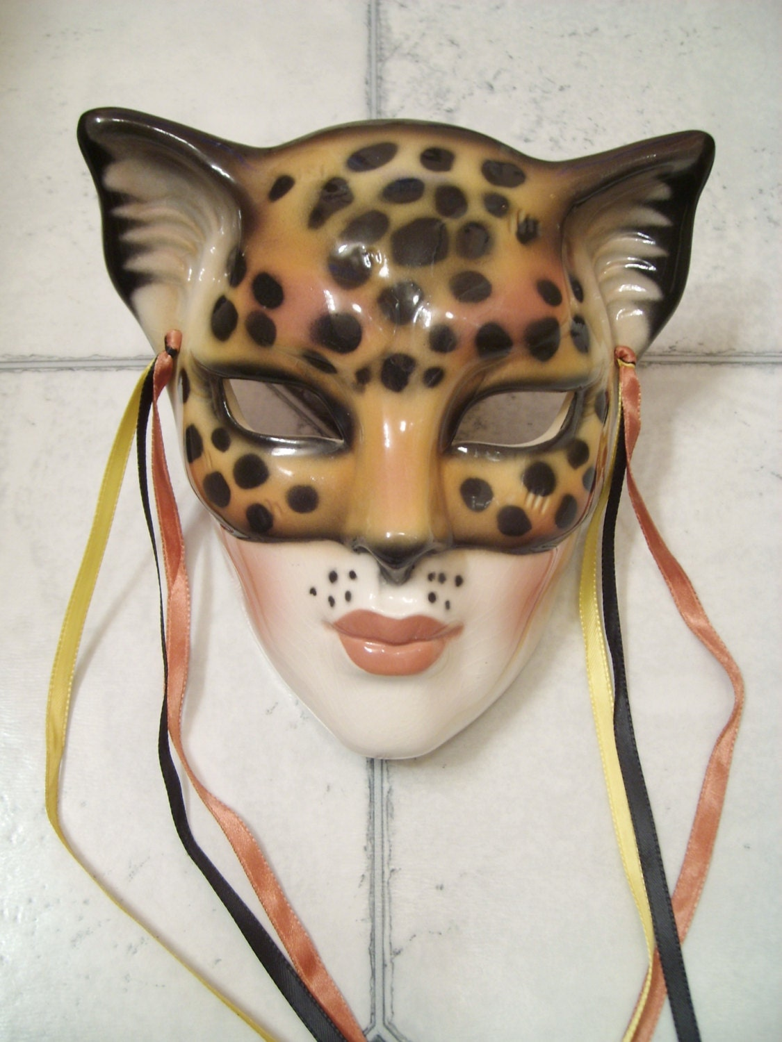 Decorative Wall Face Masks : Clay art ceramic cheetah cat face wall mask decorative