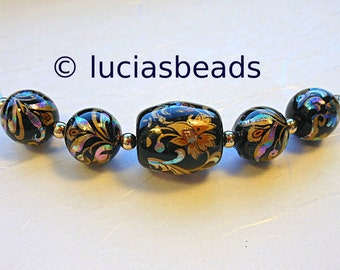 NEW Gorgeous Arabesk on Black Japanese Tensha Beads Set 13 x 15 MM and 10 MM