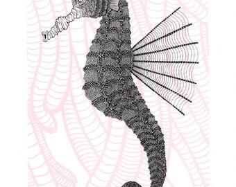 Seahorse Screenprint Nursery Art 8x10
