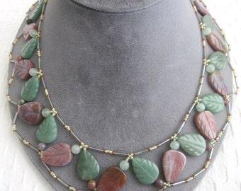 Genuine Jasper & Onyx Carved Leaf Bib Style Necklace    HDK2