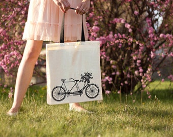 Bicycle Built for Flowers - Canvas Tote Bag (Black or Natural Handles)