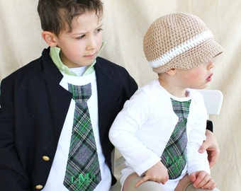 NEW Personalized Green Plaid St Patrick's Day Tie Bodysuit and Tie Tee.   Brother Matching Set.  Monogram  Plaid of Green, Black, Grey Gray.