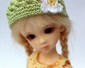"BJD Beanie Hat with Flower for 6/7"" head MSD YoSD - Green / White"