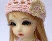 "BJD Beanie Hat with Flower for 6/7"" head MSD YoSD - Pink / Ecru"