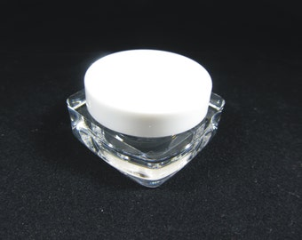50 Cosmetic Jars Thick Wall Square Plastic Beauty Containers - 10 Gram (White Lids) 3086-50   FREE US Shipping