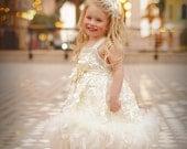 Sweet Angel Girls Petal Rosette Feather Dress