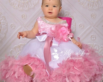 Dusty Rose Jewelled Flower Girl Dress, Toddler Dress, Princess Dress