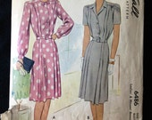 Vintage Pattern McCall 6486 1940s shirtwaist dress Bust 37 6486 1946 war era