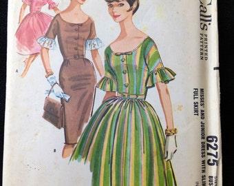 Vintage Pattern McCall's 6275 1960s 1962 Full Skirt Wiggle Dress Mod bust 32