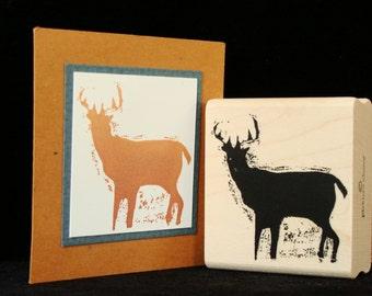 woodland deer rubber stamp