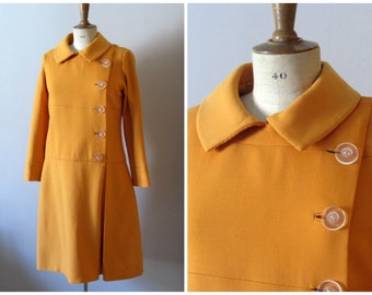 vintage 1960s does 20s drop waist bright orange dress coat / 60s mad men avant garde dress