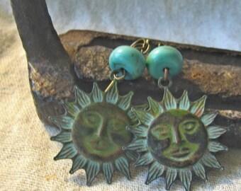 summer sun verdigris earrings