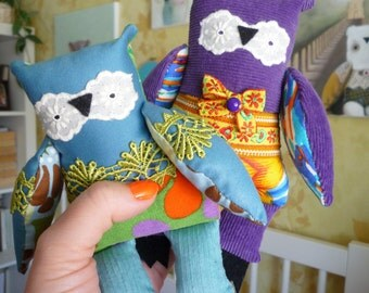 Owl Mystery Bag Grab Bag ,1  little owl, soft art toy by Wassupbrothers.
