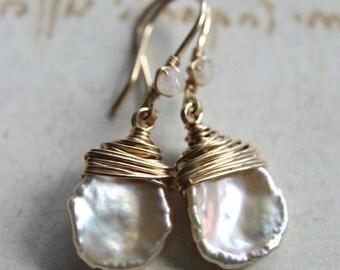 White Keishi Pearl Earrings, Ivory Pearl Drops, Minimalist, Moonstone Dangle Earrings, Simple Pearl Earrings