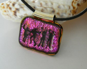 Dance Pendant Fused Glass Pendant Dancing People hot pink dichroic