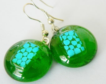 Dangle Earrings Fused Glass and Dichroic Circles with Spots