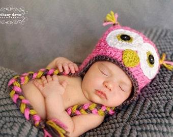 Crochet Owl Beanie with Braids