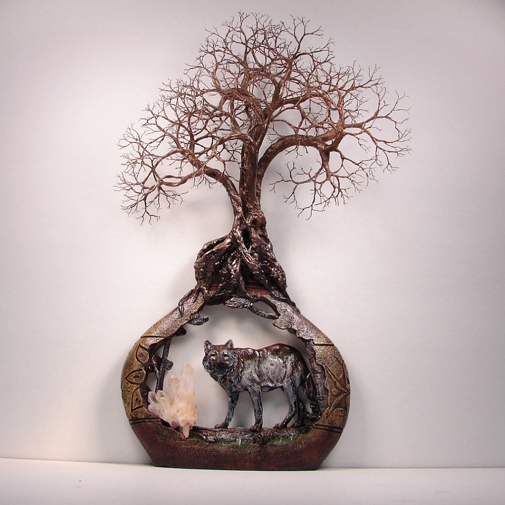 Wire Tree Of Life Grove Spirits Sculpture Quartz Crystal And